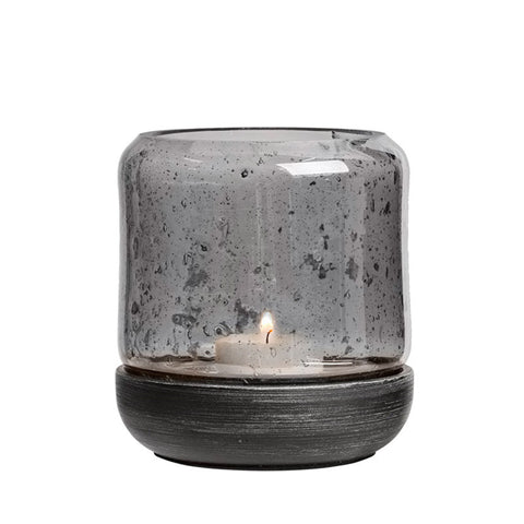 Scandinavian tealight holder wooden base and glass casing black