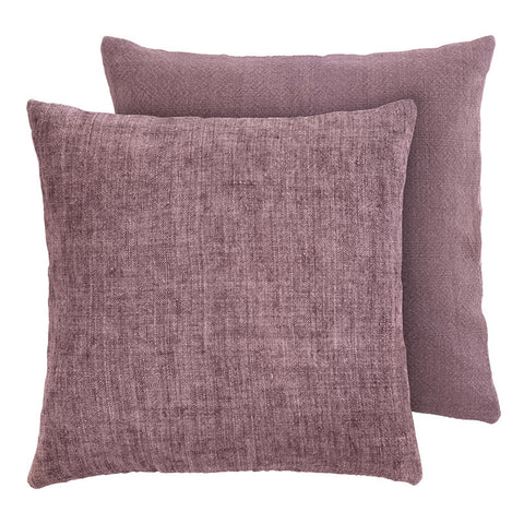 Premium Scandinavian mauve linen and cotton cushion front face