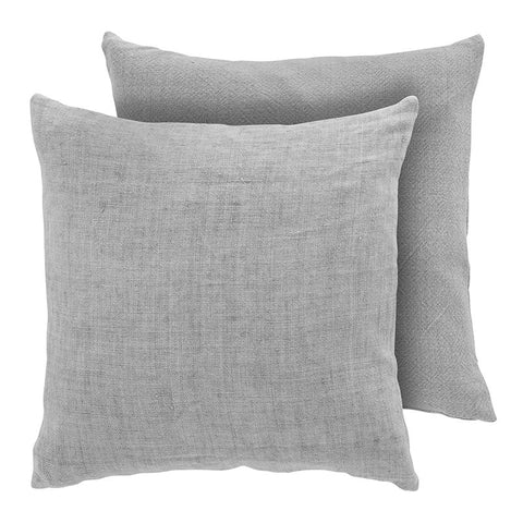 Premium Scandinavian grey linen and cotton cushion front face