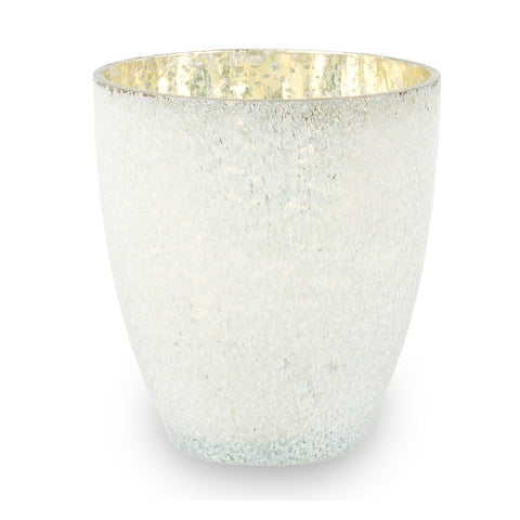 Scandinavian tealight holder textured glass white