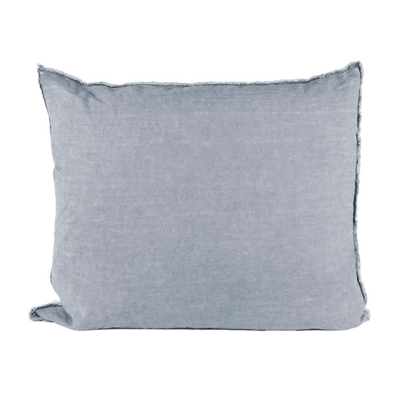 Scandinavian linen pillow with frayed edge detail light navy