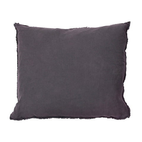 Scandinavian linen pillow with frayed edge detail dark purple