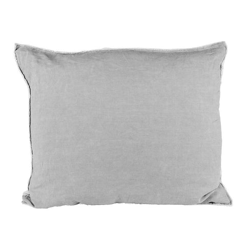 Scandinavian linen pillow with frayed edge detail light grey