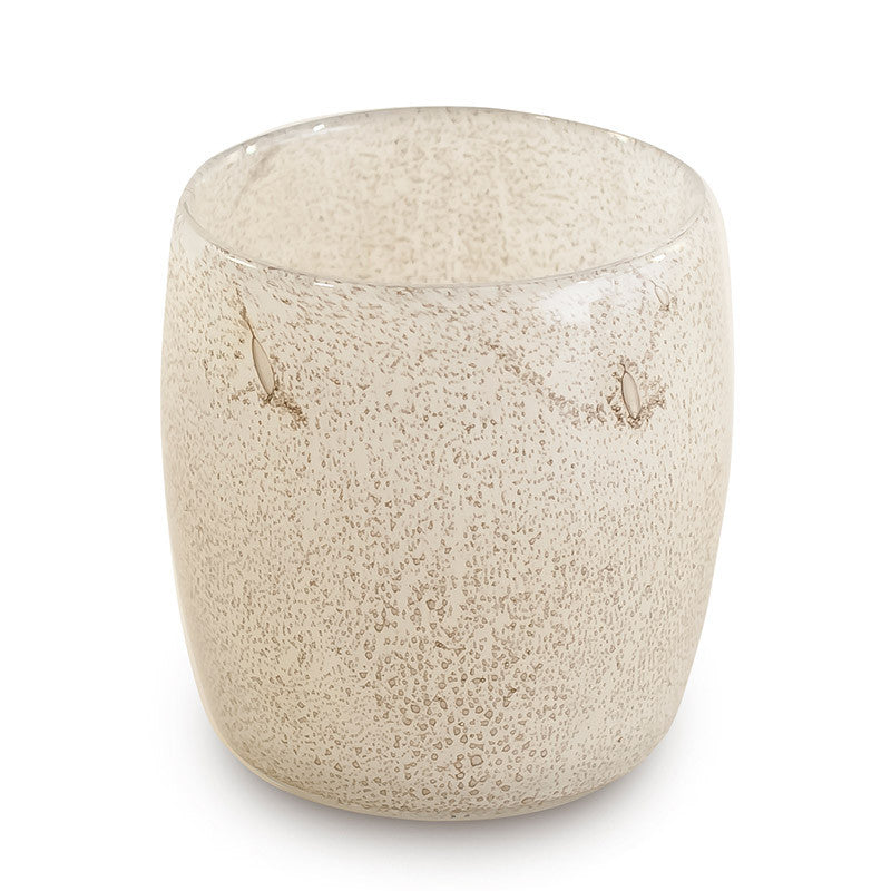 Speckled effect glass tealight holder beige