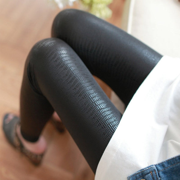 Leggings - Schlangen Muster Kunstleder Leggings (4)