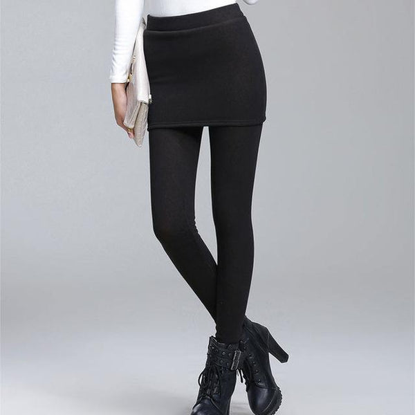 Leggings - Warme Winter Leggings Mit Röckchen (5)