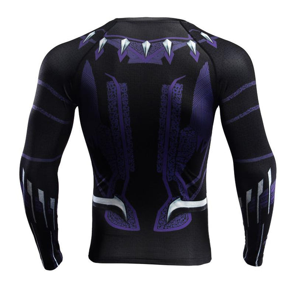Superheld - Avengers 3 Black Panther Langärmliges 3D Compression Shirt