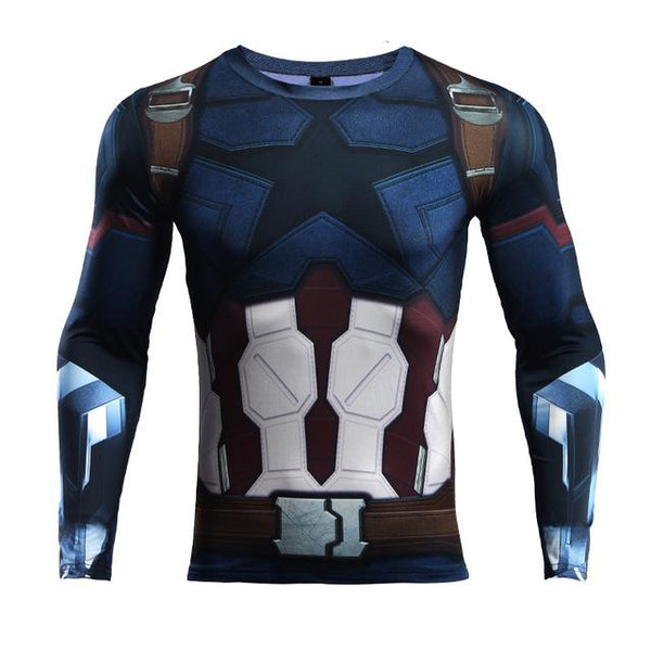 Superheld - Avengers 3 Captain America Langärmliges 3D Compression Shirt