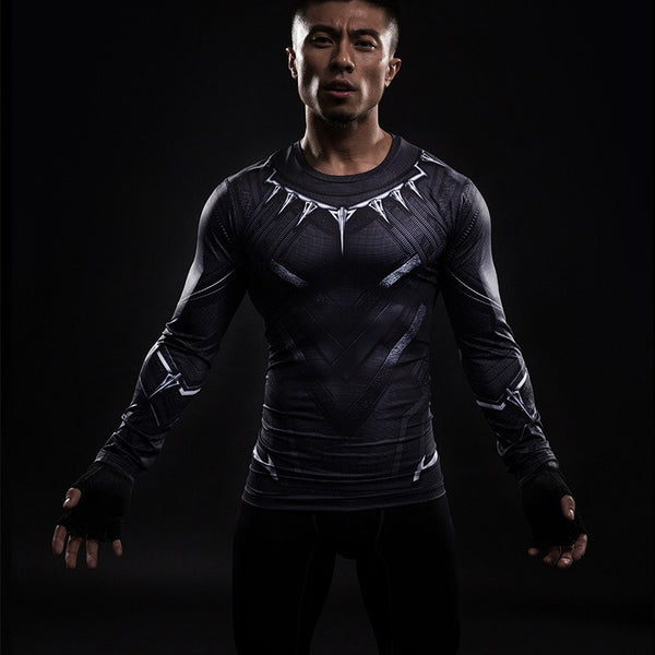 Black Panther Langärmliges 3D Compression Shirt