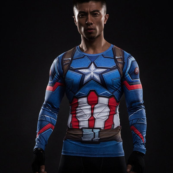 Captain America Langärmliges 3D Compression Shirt - Einfach Knorke!
