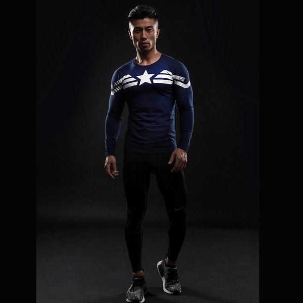 Captain America³ Langärmliges 3D Compression Shirt - Einfach Knorke!