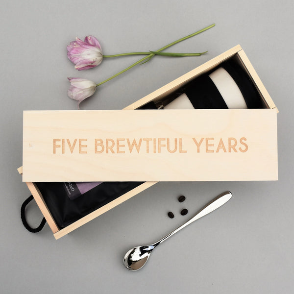 5th Anniversary Engraved Wooden Box Containing Coffee Kit