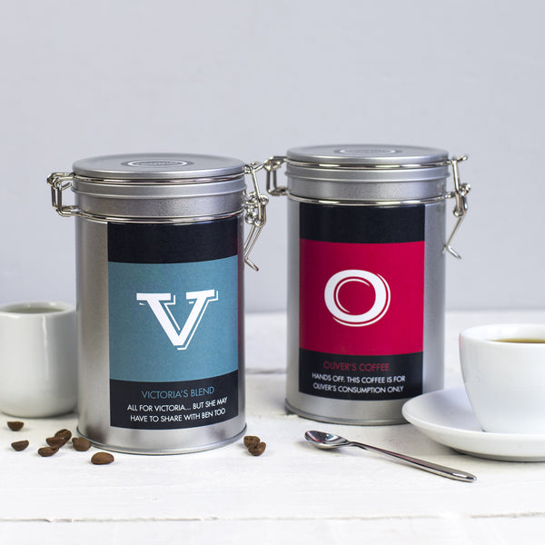 coffee personalised gift tin novello