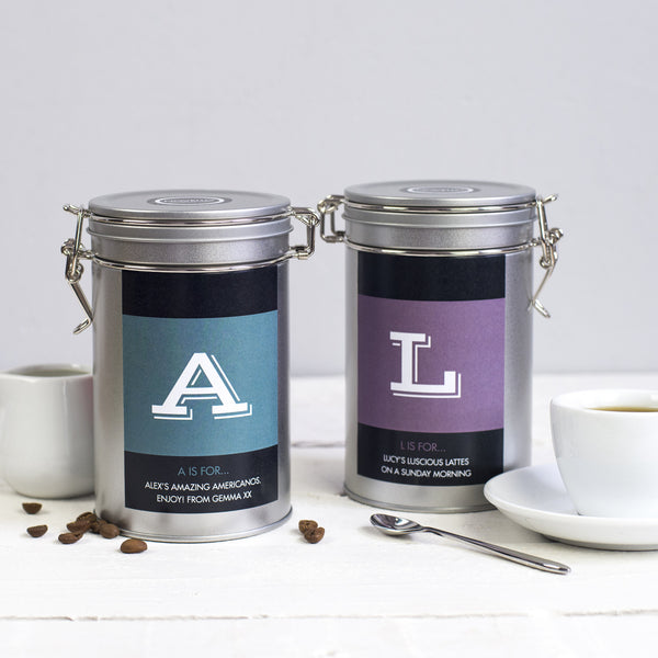 personalised coffee gift tin novello