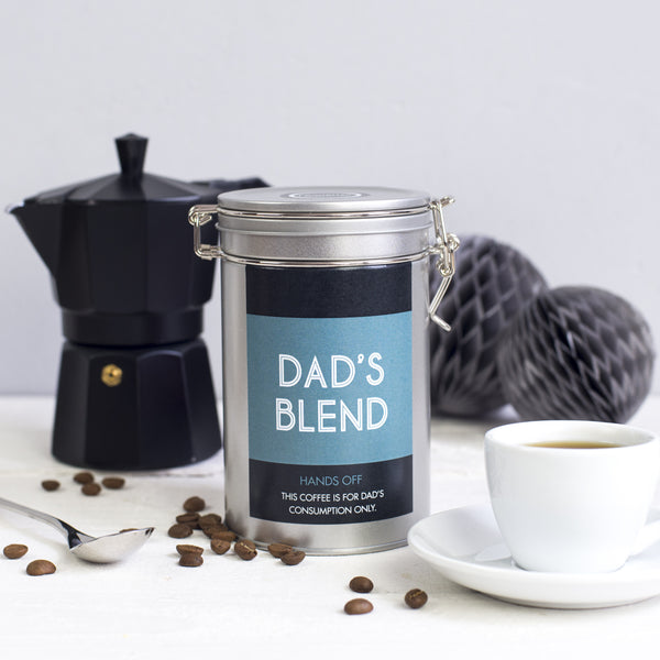 coffee gift for fathers day personalised tin novello