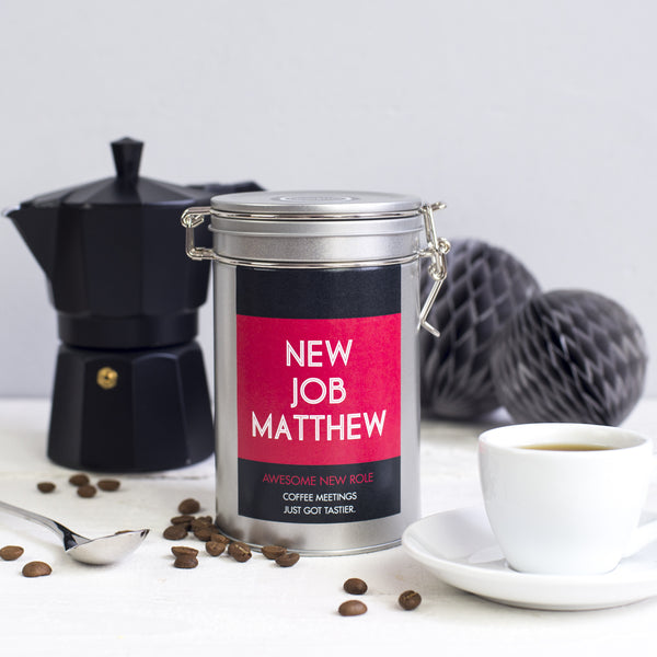 New Job Personalised Coffee Gift Tin