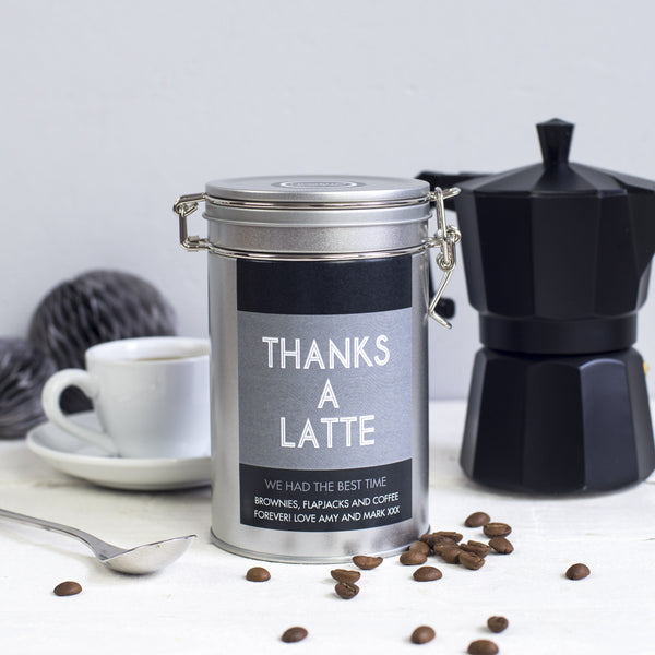 personalised coffee tin gift