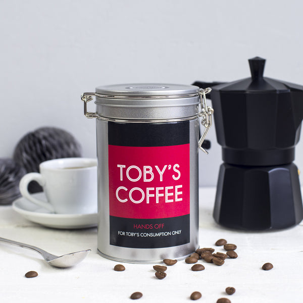 coffee gift personalised tin novello