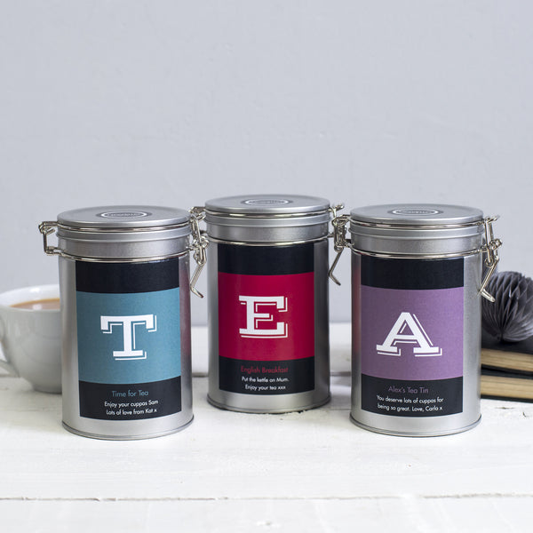 personalised tea gift tin novello