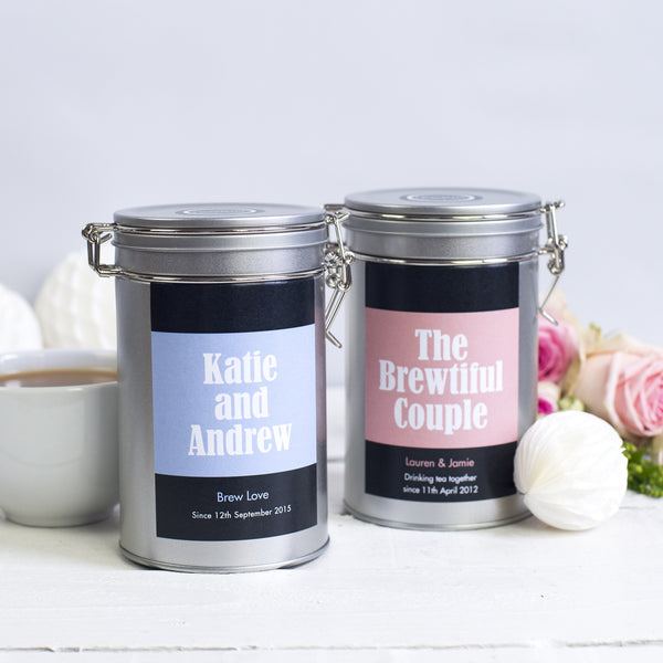 couples gift tin tea personalised novello