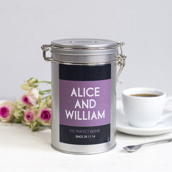 wedding gift tin coffee personalised novello