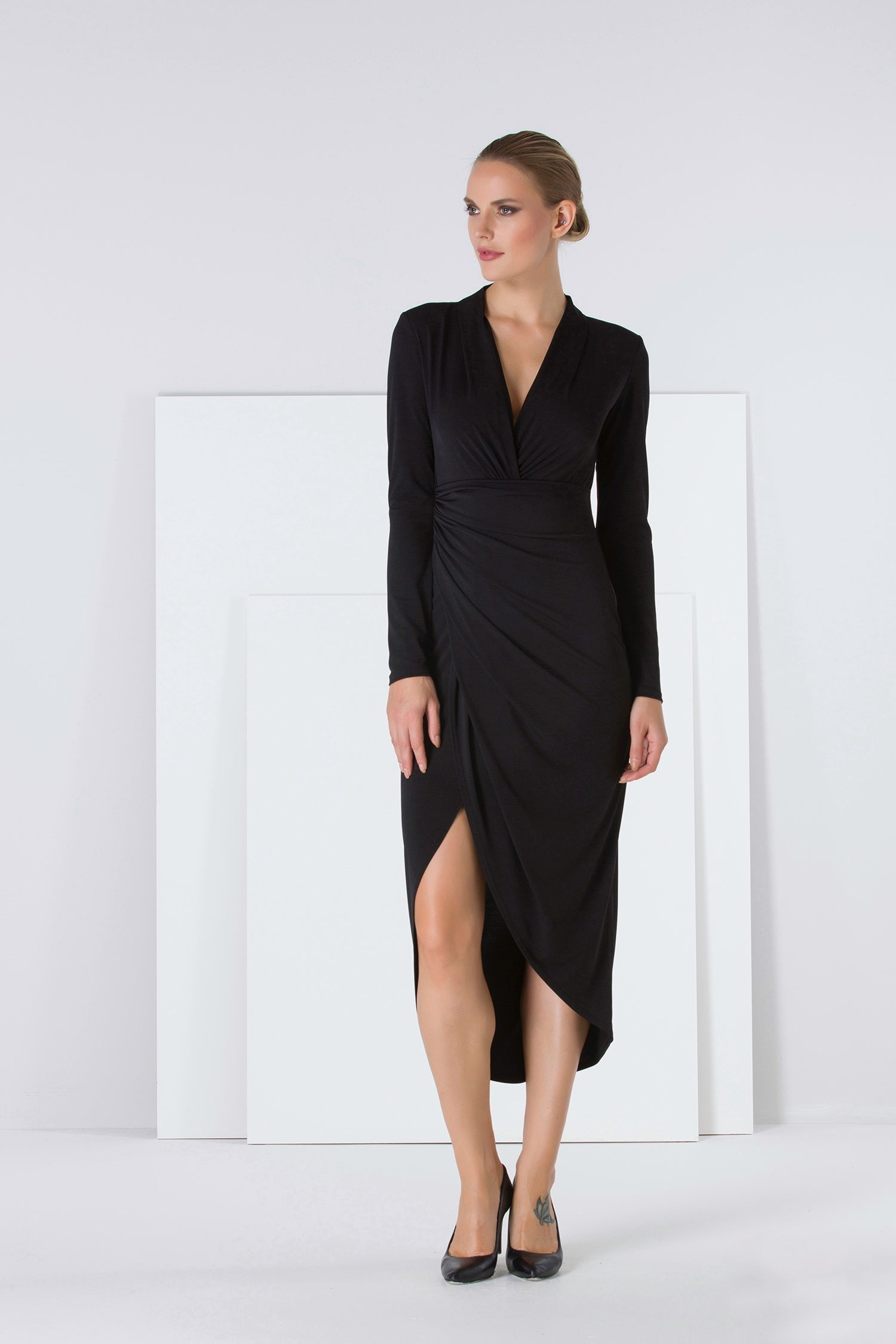 Wrap V neck Long sleeves black dress - 54016