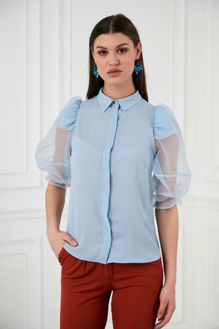 Blue balloon sleeve top