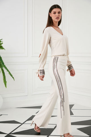 Sequin Flared Trousers