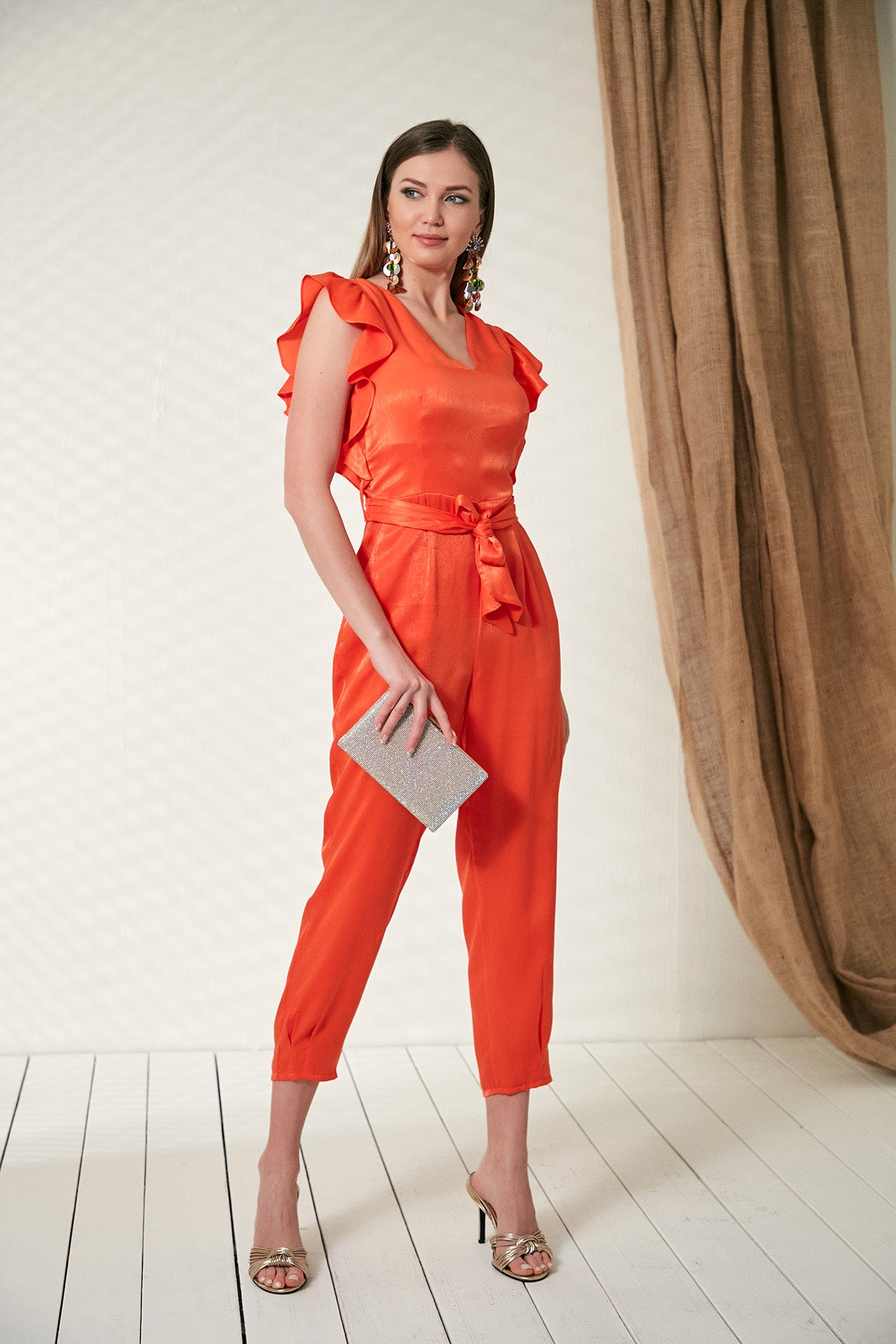 Coral Wrap Jumpsuit