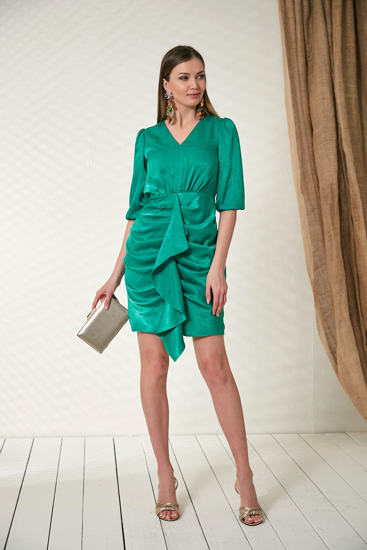 Green frill dress