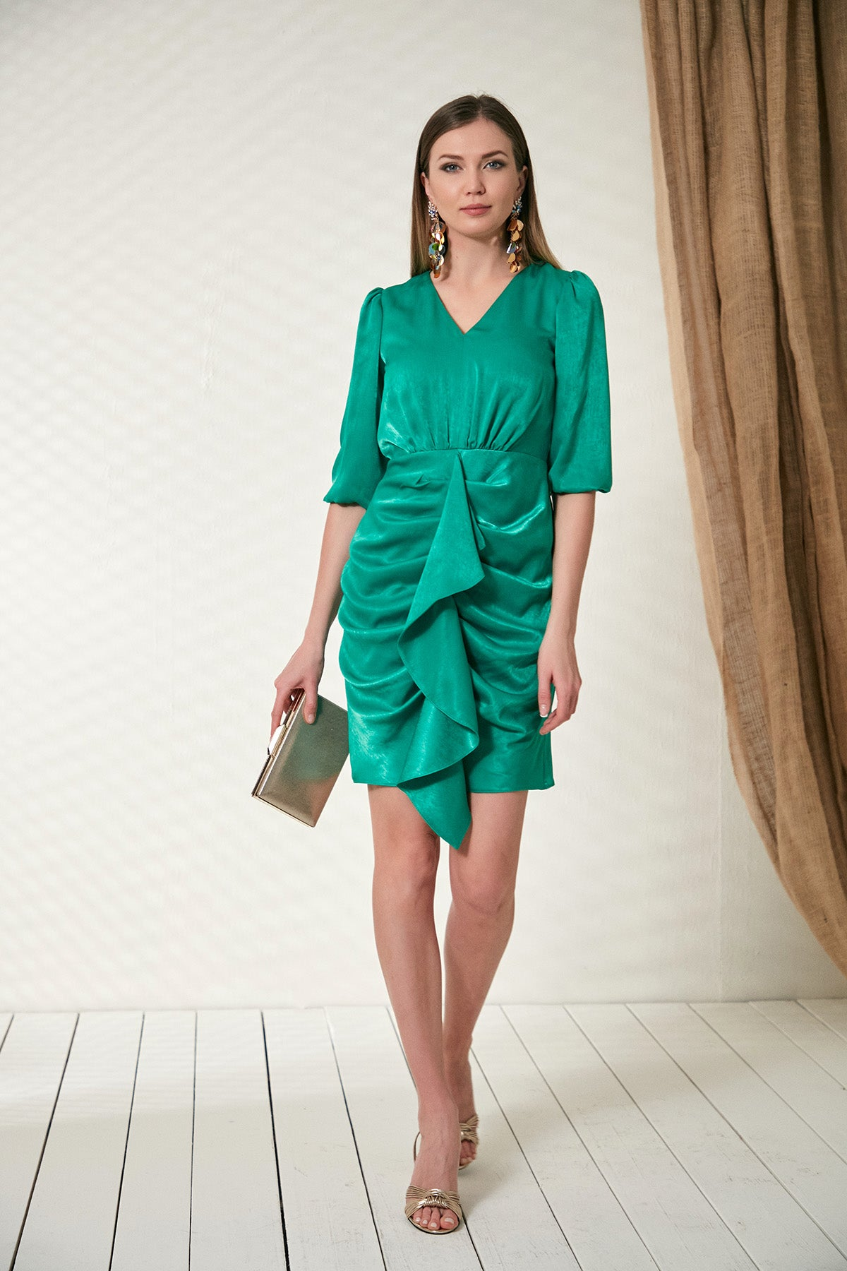 Green draped dress