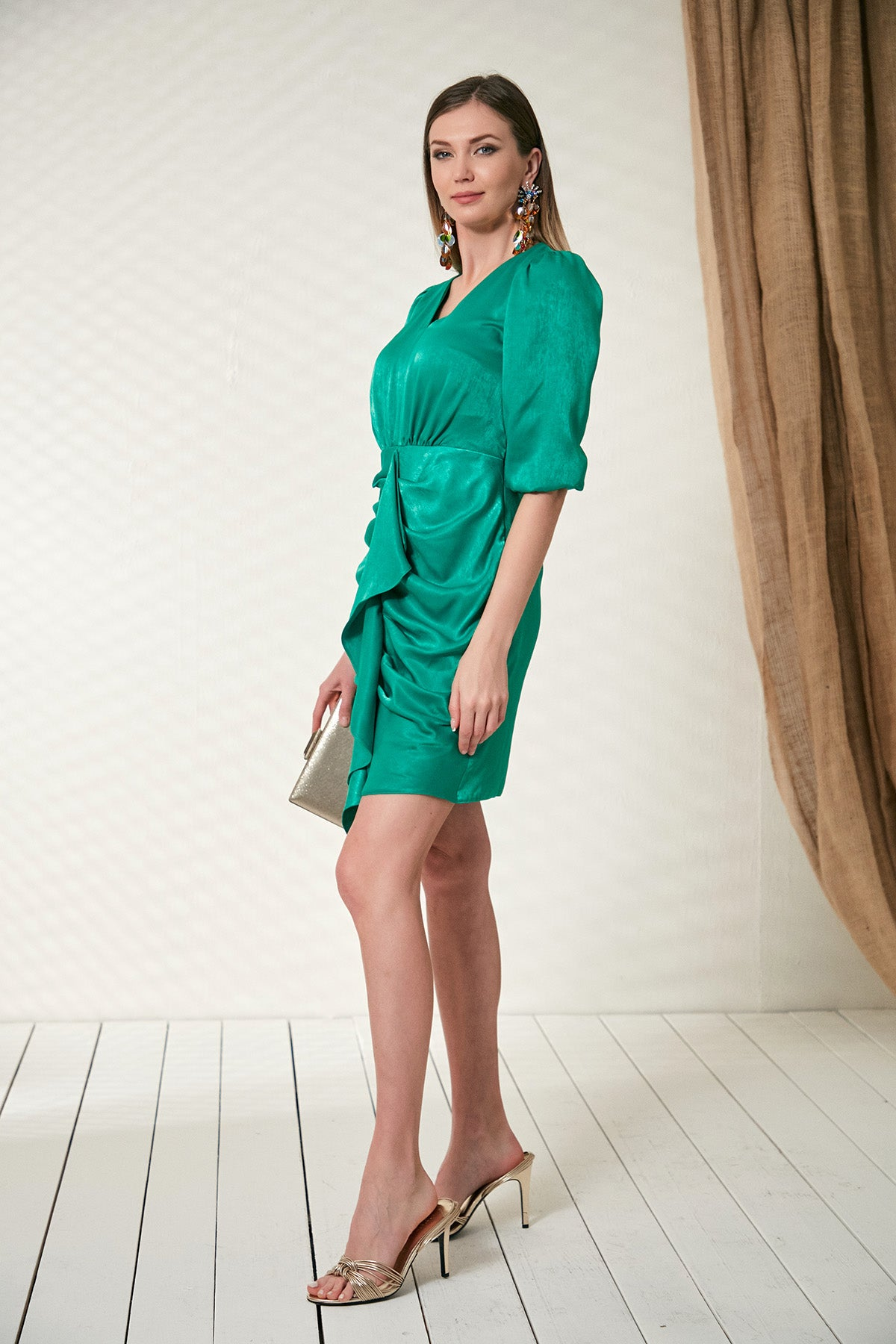 Frill Dress in green