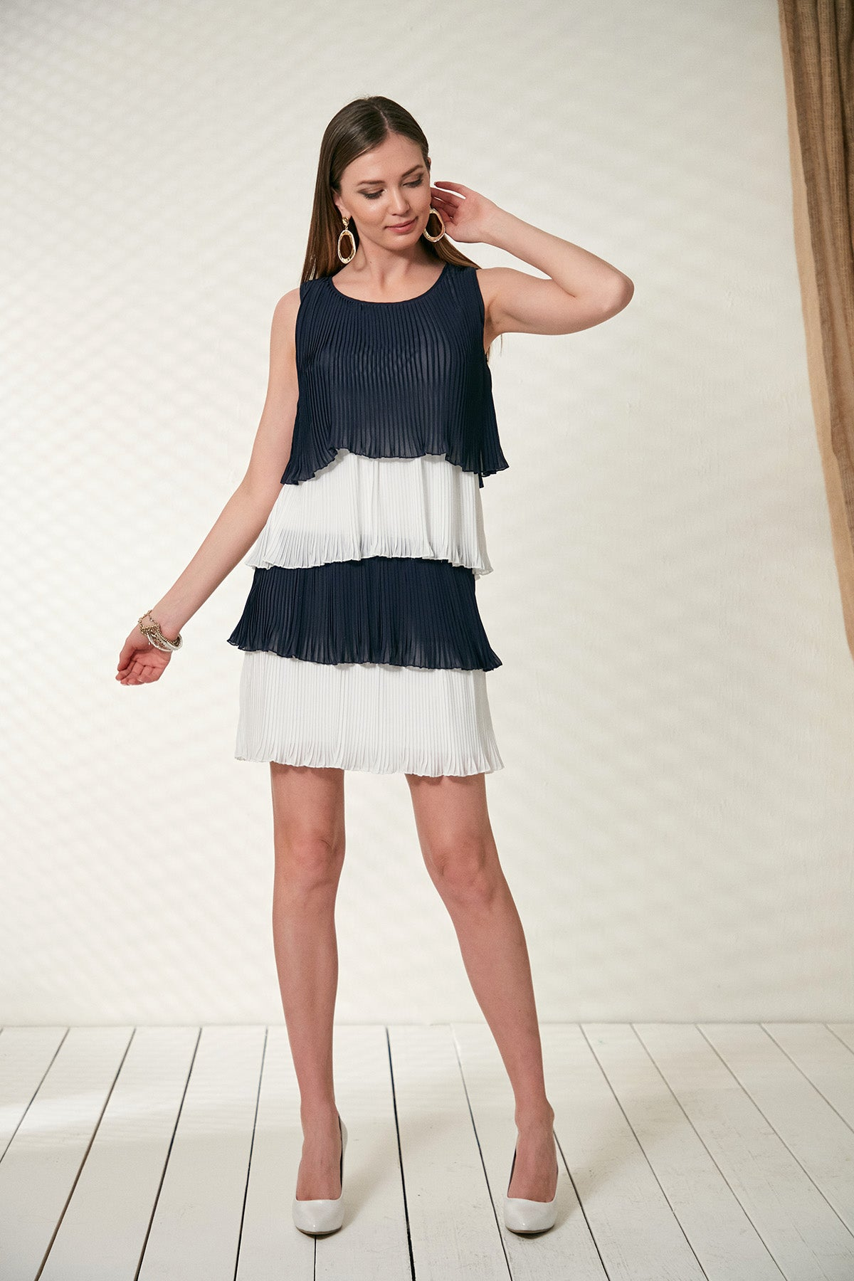 Pleated Dress with Frill