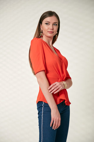 Wrap Top in coral