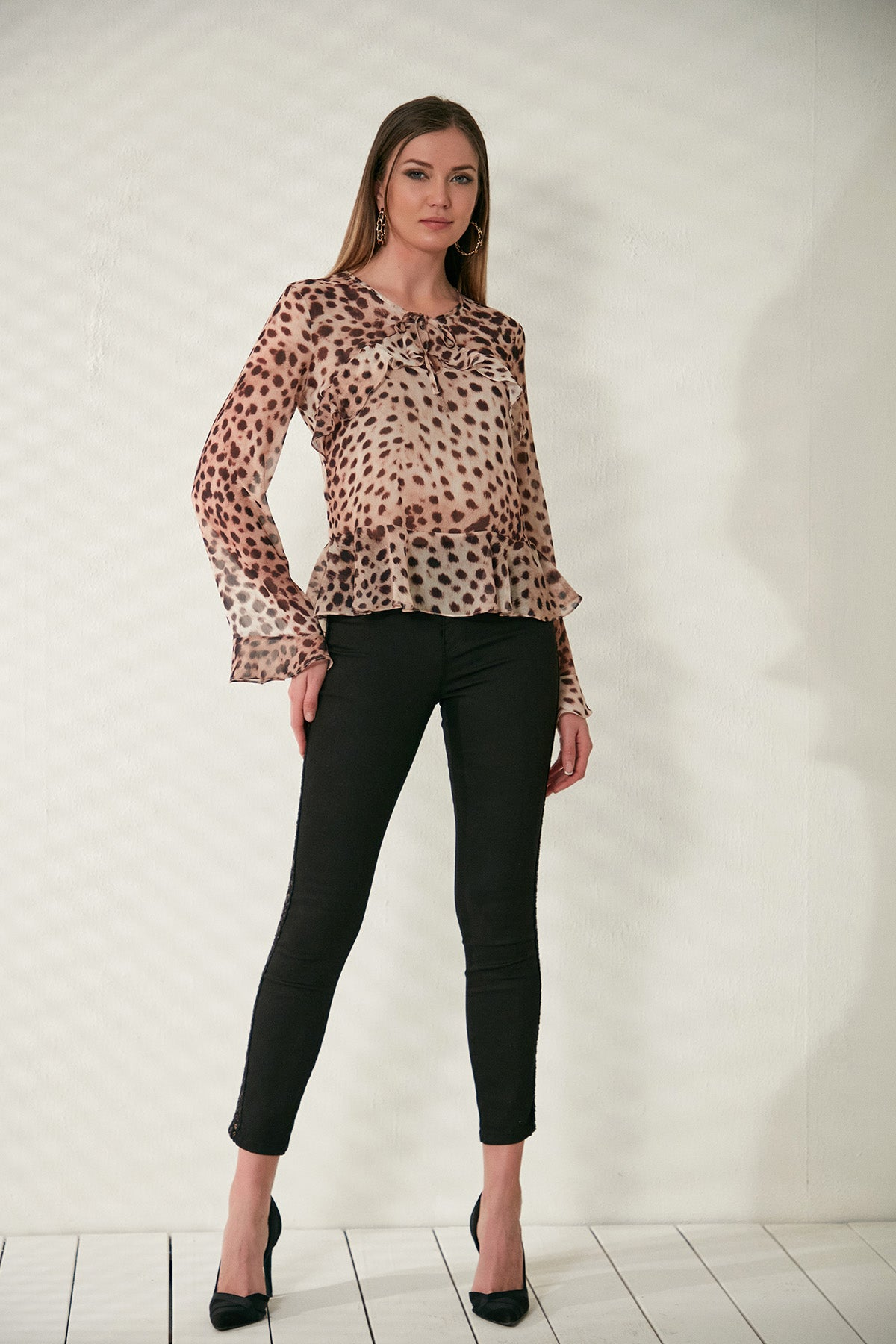 Leopard top with Frill