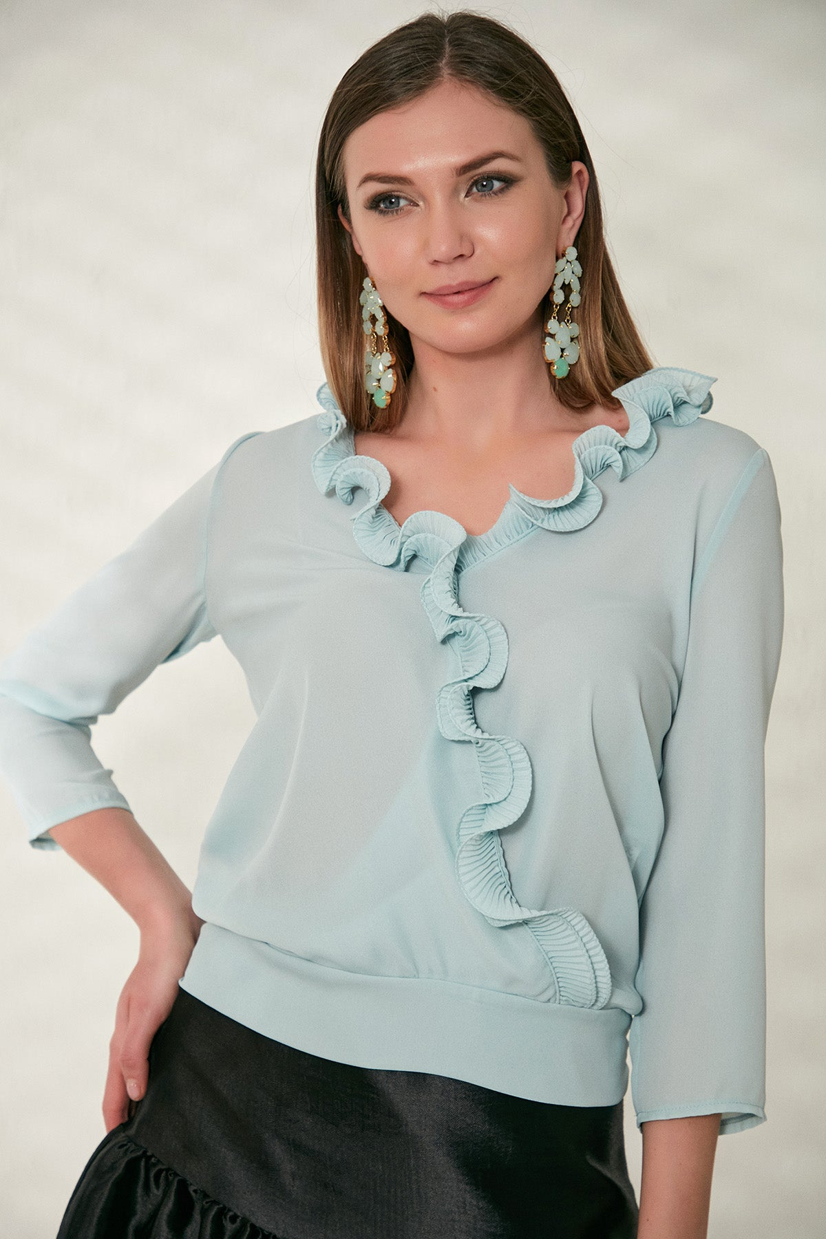Frill Top in Blue