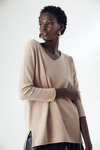 Oversize Long Sleeve Knitwear Top in Beige/Camel colour