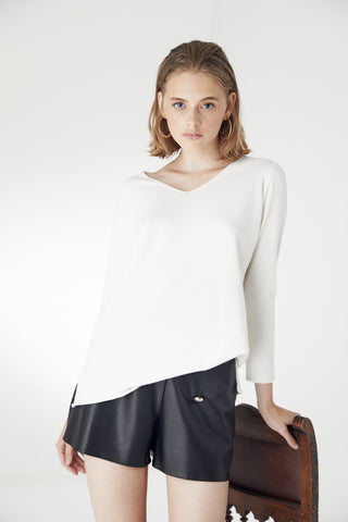 Oversize Long Sleeve Knitwear Top in Ecru/White colour