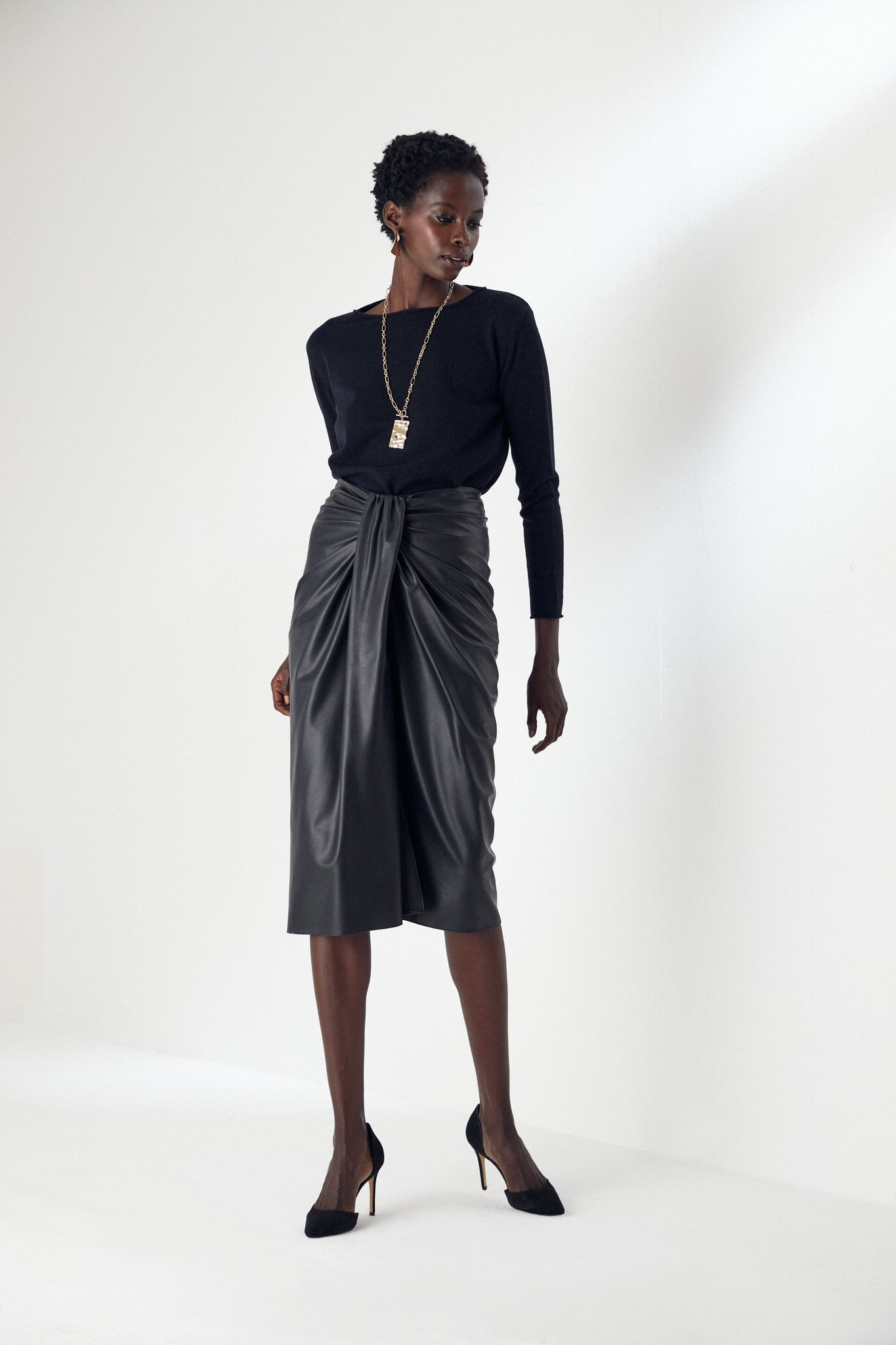 Draped Black Leather Midi Skirt
