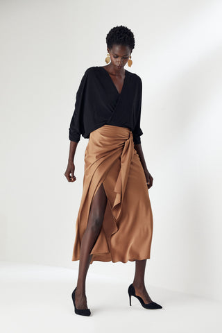 Wrap Midi Silk Skirt in Gold colour