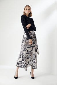 Wrap Midi Skirt in Leopard Print