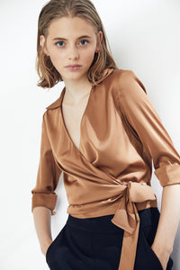V Neck Wrap Over Silky Crop Top/Bouse