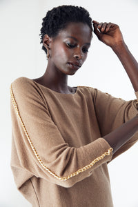 Oversize Knitwear Top in Camel colour with Kimono Sleeves