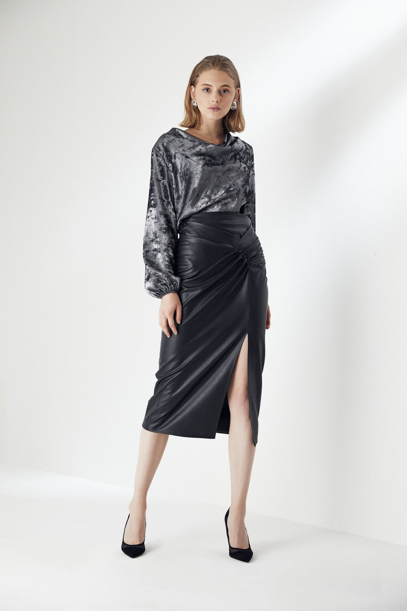 Draped Black Leather Midi Skirt with Slit