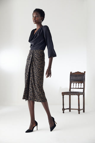 Draped Midi Skirt in Leopard Print