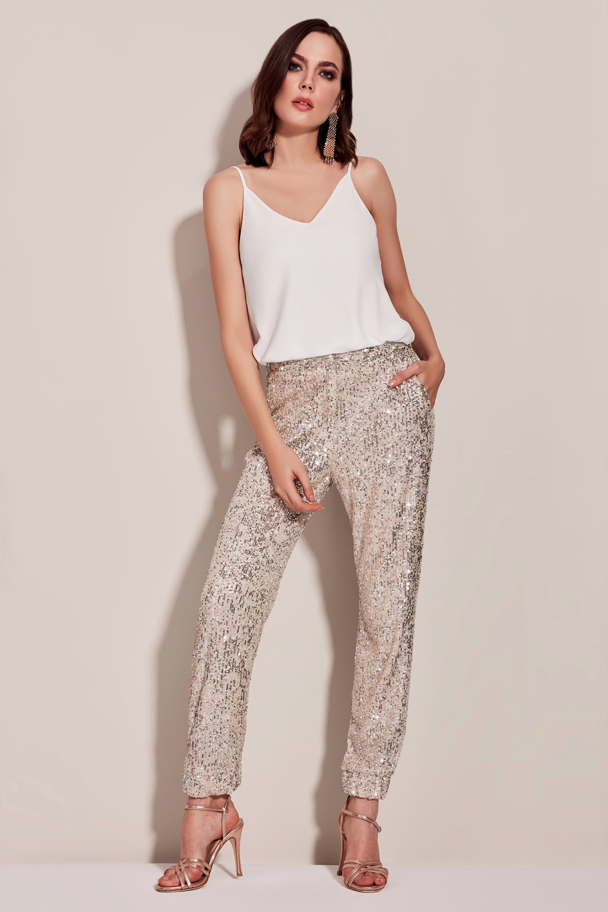 Beige sequin trousers