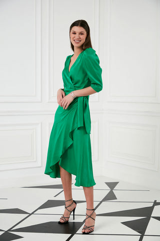 Green Midi Wrap dress
