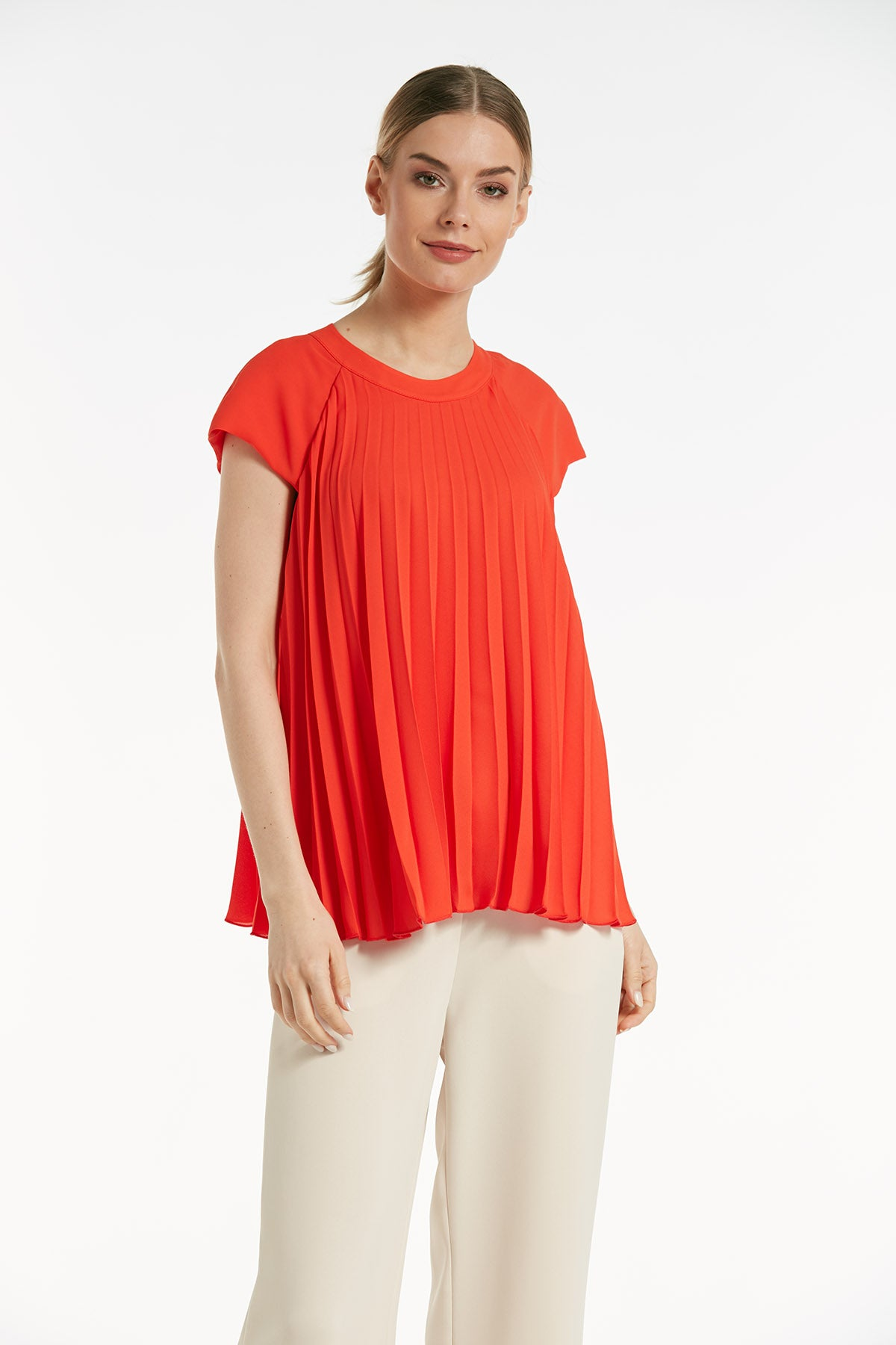 Short sleeves coral pleated top - 16128