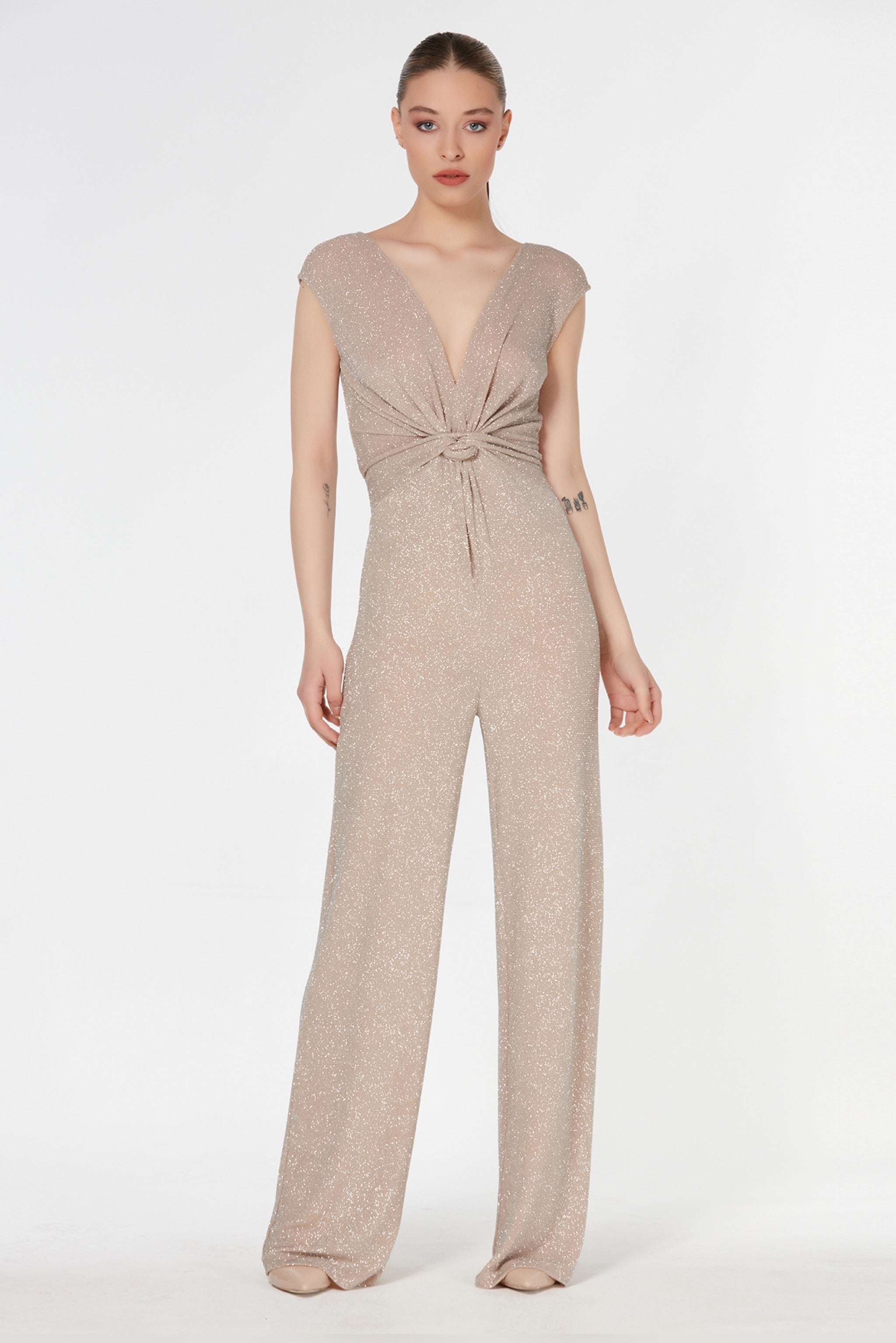 V neck sleeveless shiny glitter wrap jumpsuit - 71829