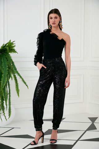 See through jacket with Sequin in Black